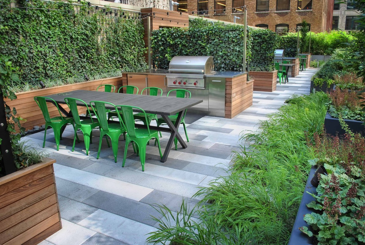 A series of four BBQ stations with outdoor refrigerators offer building residents great opportunities to enjoy the outdoors without leaving the comfort of their homes.