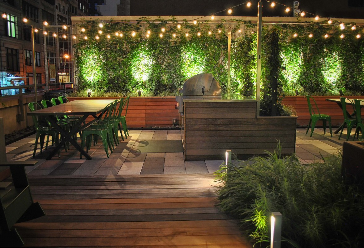 In the evenings, the terrace lighting transforms the space, offering yet another way for residents to enjoy this great amenity.